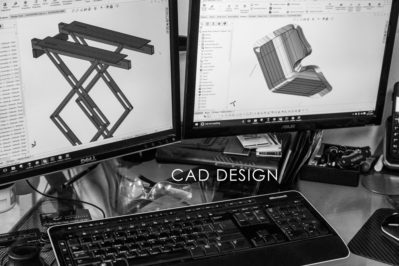 CAD Modeling - We use SolidWorks 2016 to model every part we make.  Come to us with a napkin sketch and we can quickly turn it into reality. CAD modeling starts at $50 per hour.