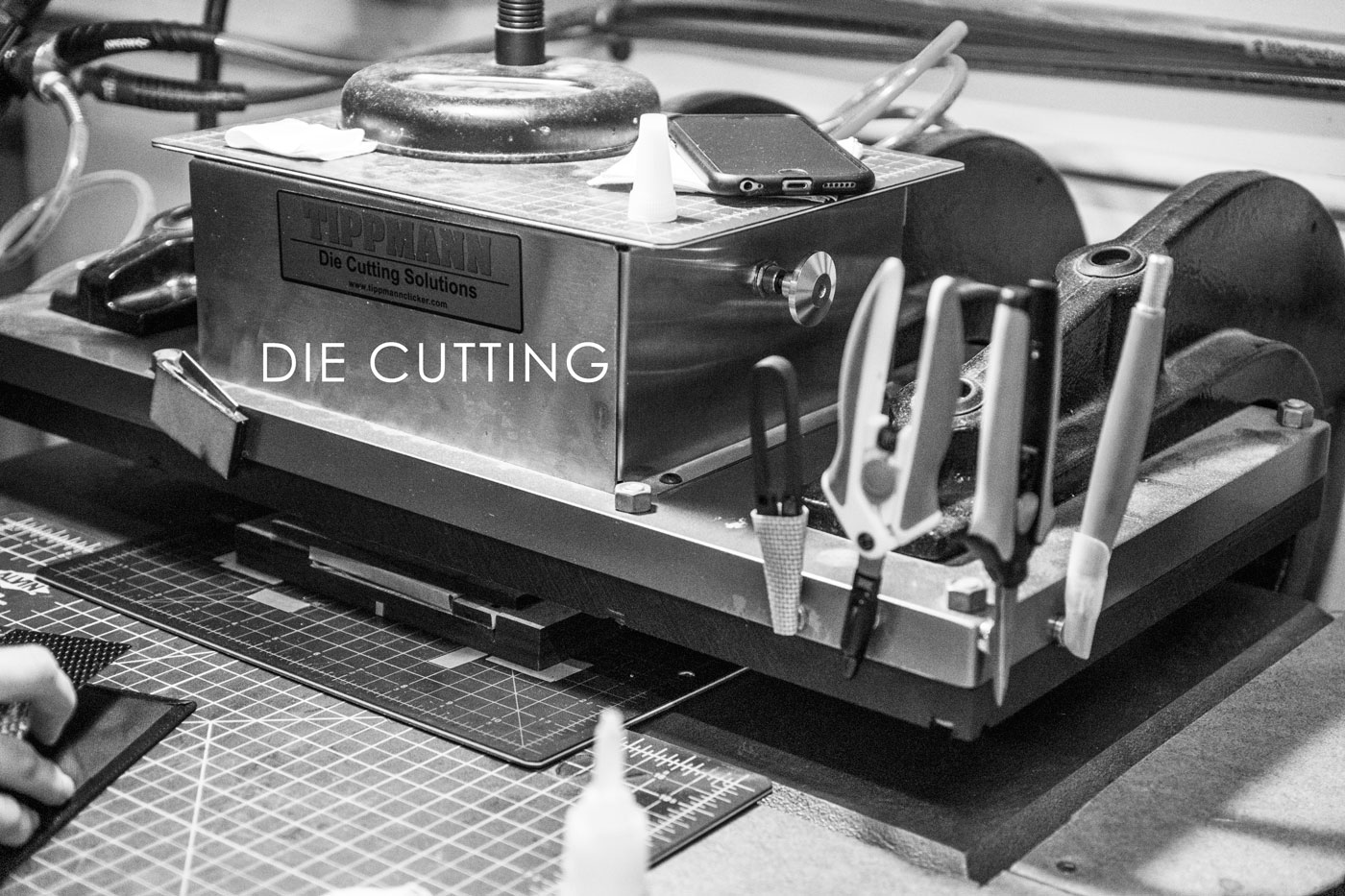Die Cutting - With 15 tons of closing pressure we can cut through just about anything on our Tippmann Clicker 1500 Die Cutting Press.