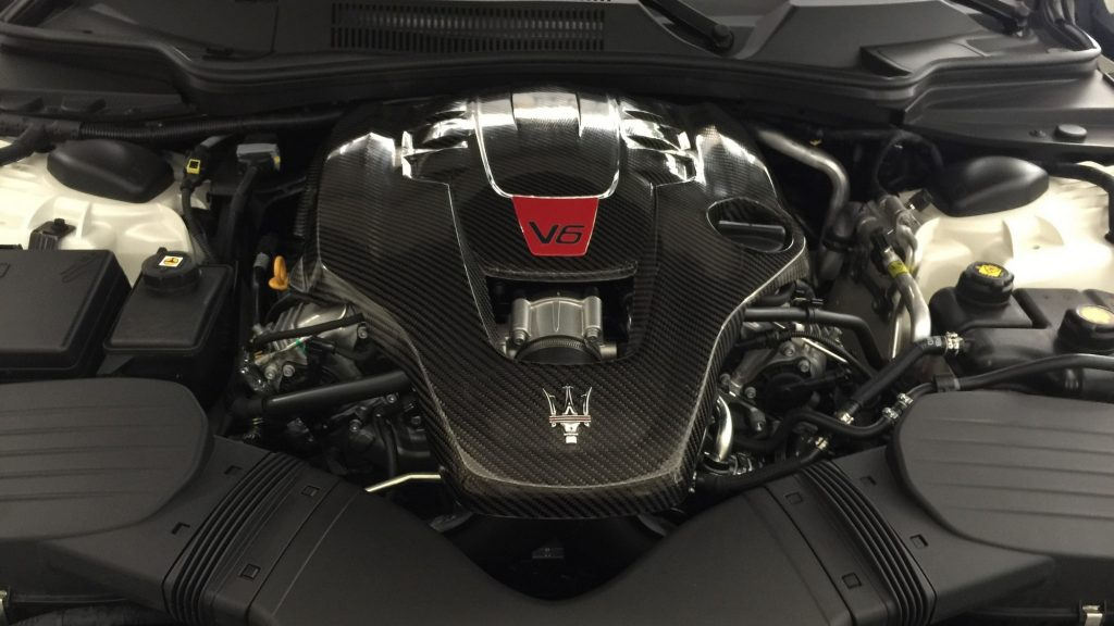 Installed Carbon Fiber Maserati Engine cover